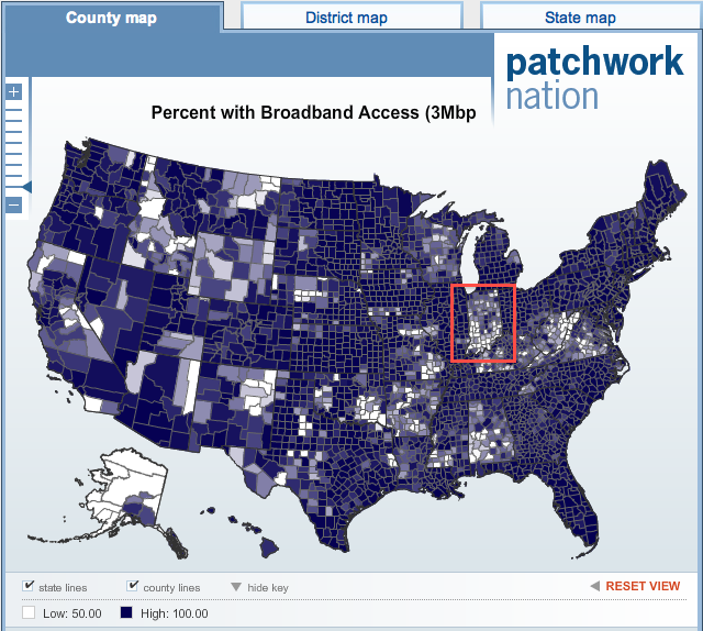 Indiana on the Patchwork Nation Broadband Map