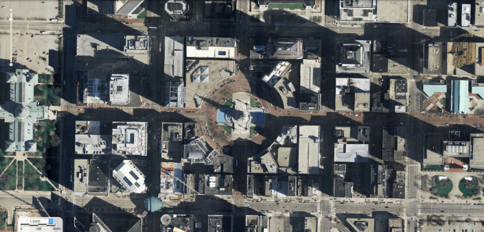 Aerial photo downtown Indianapolis Circle