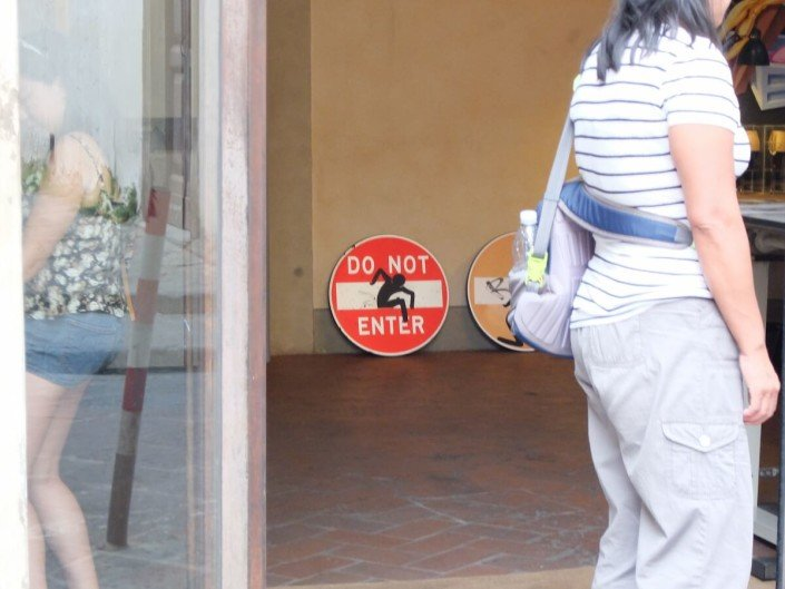 Florence Italy street art Clet Abraham do not enter