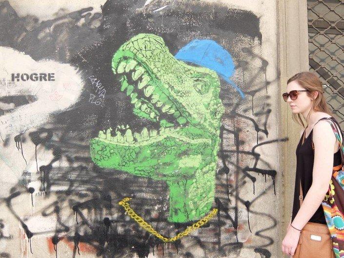 Florence Italy street art Godzilla