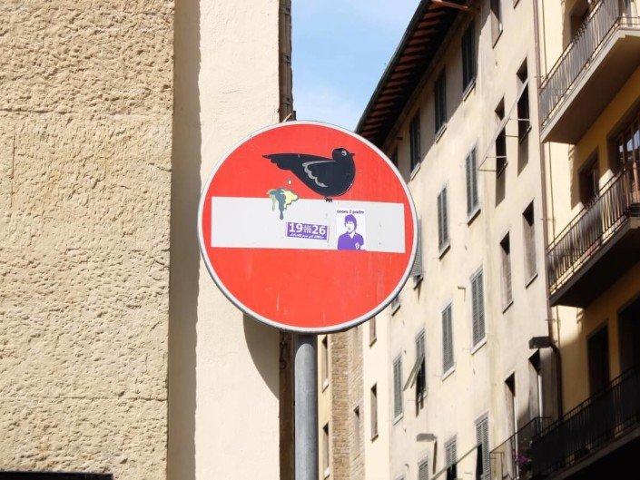 Florence Italy street art Clet Abraham bird poo